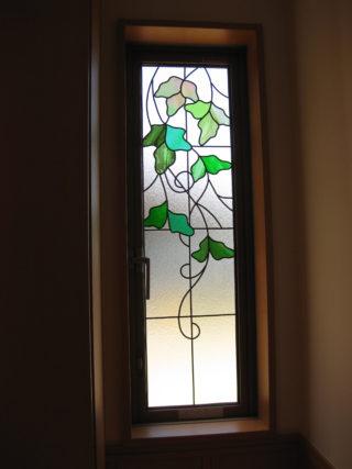 ホールのサッシにグラスアート